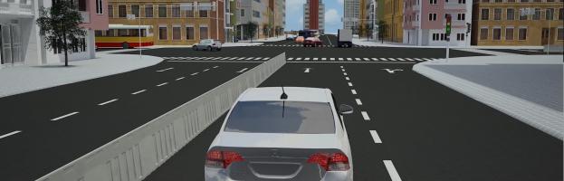 [3D + phần cứng] Hệ thống trắc nghiệm tình huống lái xe ô tô bằng phim 3D